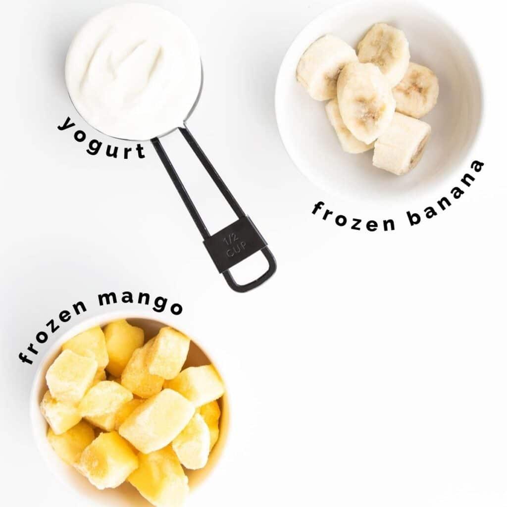Top Down Shot of Ingredients Needed to Make Frozen Mango Yogurt (Labelled)