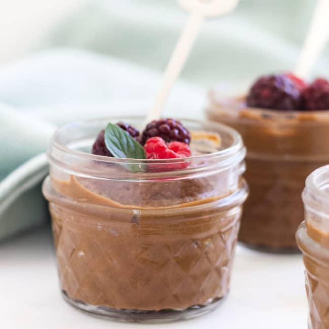 Side View of Chocolate Avocado Mousse in Glass Jar