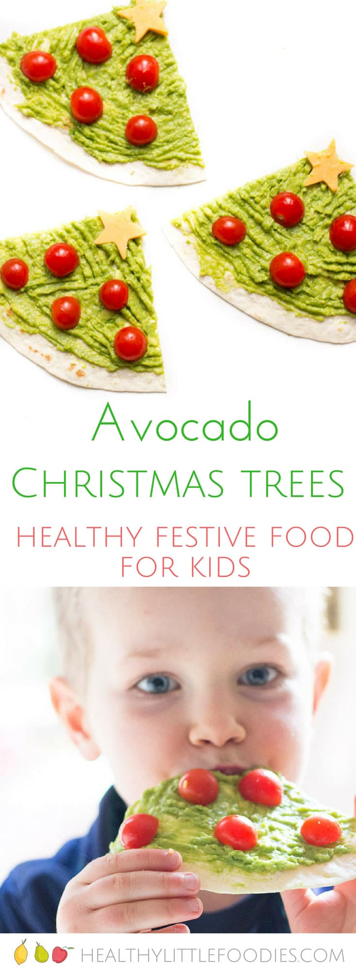 Avocado Christmas trees. A healthy festive food idea for kids. A great lunch in the lead up to Christmas.