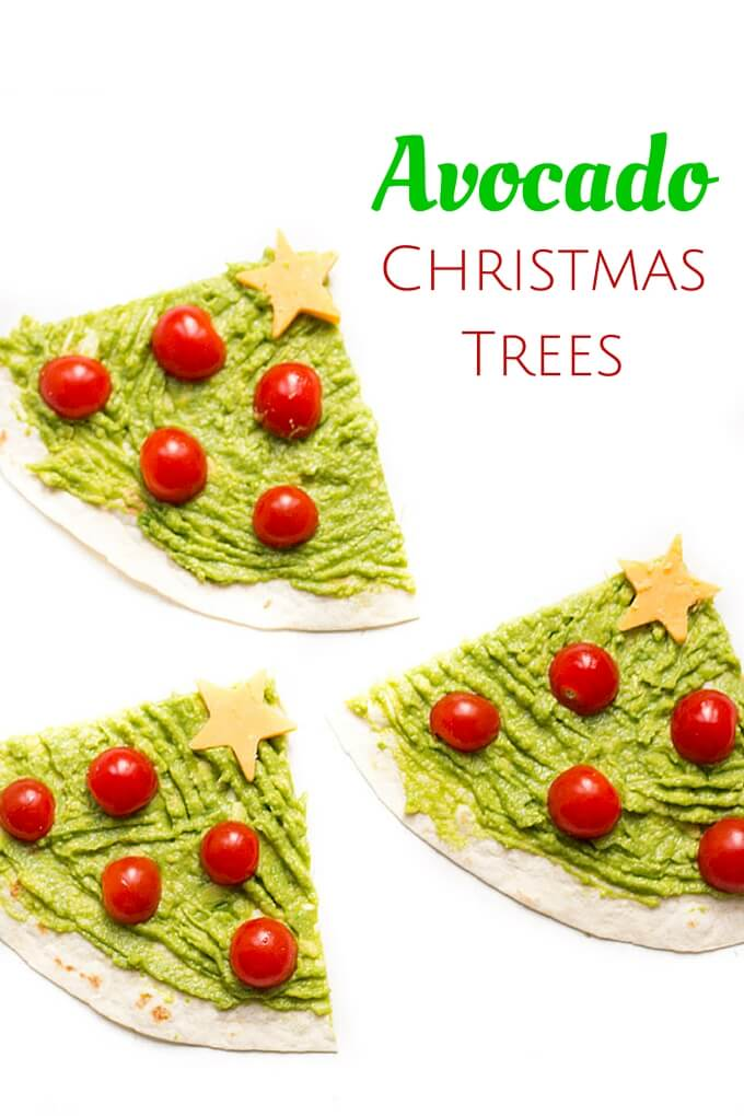Top Down View of Avocado Christmas Tree (Tortilla Wraps Topped With Avocado, Cherry Tomatoes and a Cheese Star)