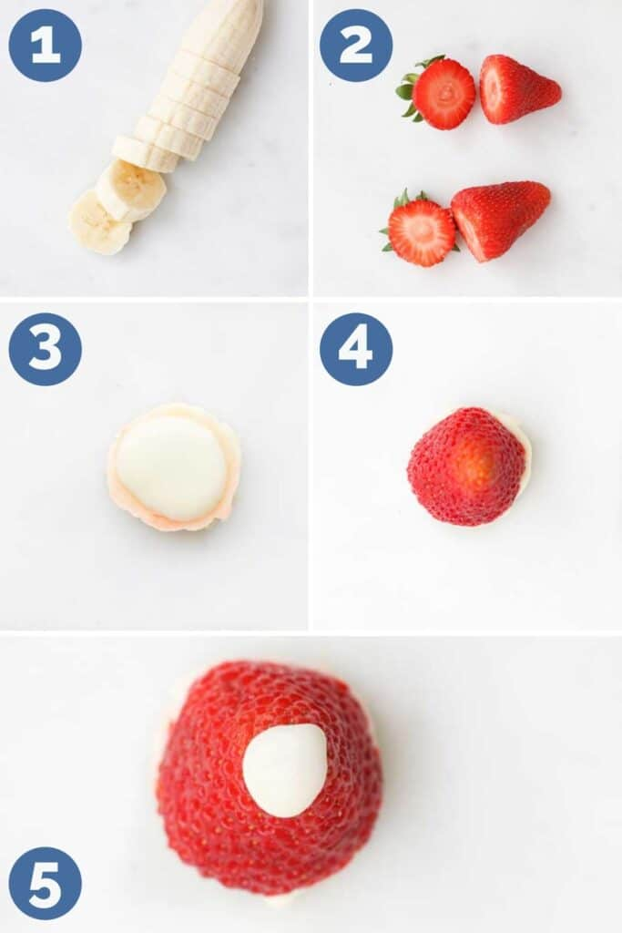 Collage of 5 Images Showing How to Assemble a Strawberry and Banana Santa Hat