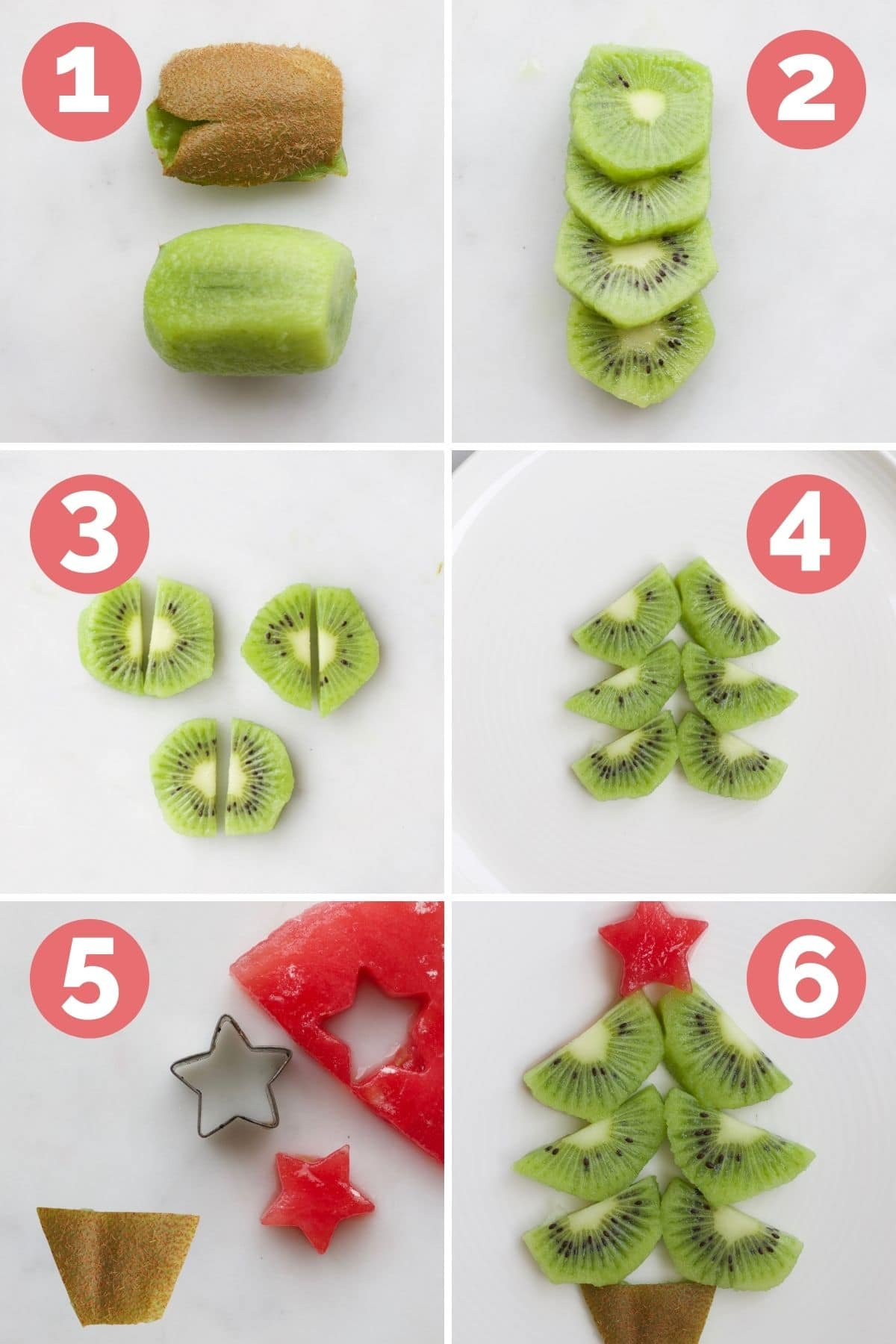 Collage of 6 Images Showing the Process Steps to Making Kiwi Christmas Tree