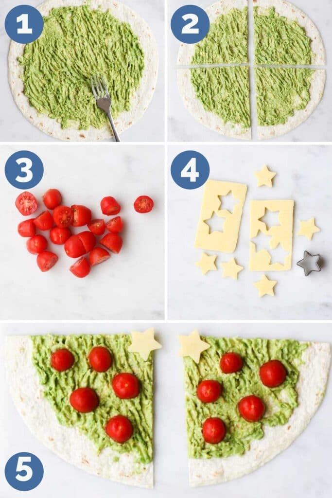 Collage of 5 Images Showing How to make Avocado Christmas Tree