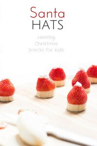 Santa Hats made from banana, strawberry and greek yoghurt. Healthy Christmas snack for kids