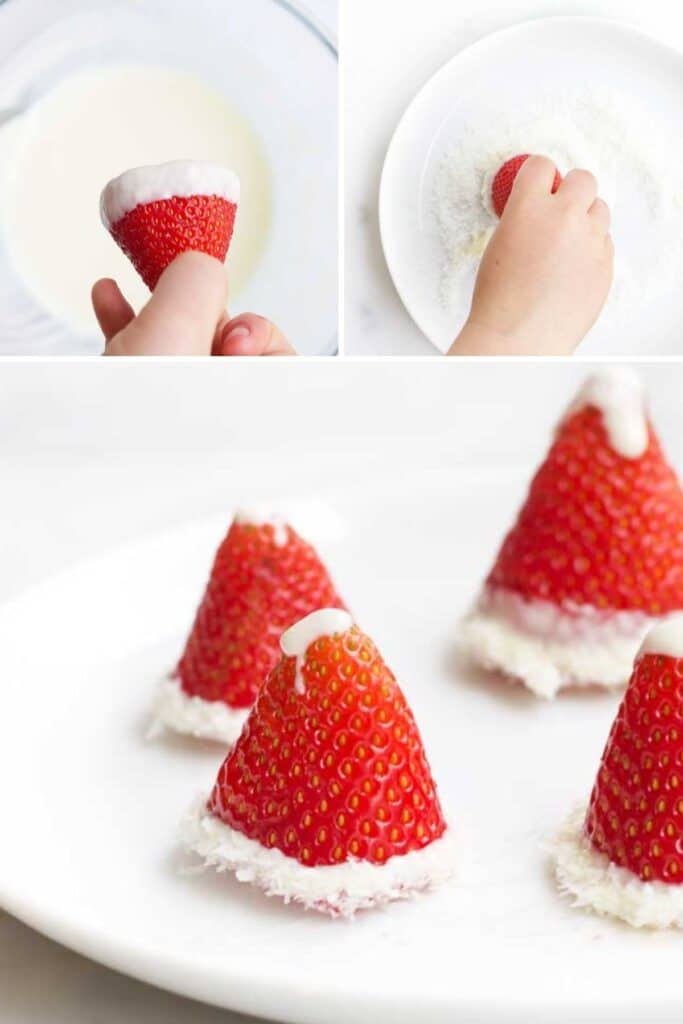 Collage of 3 Images Showing How to Make a Santa Hat with No Banana (1. Dip Strawberry base in melted white chocolate 2) coat in coconut 3) Add a drop of melted white chocolate at tip