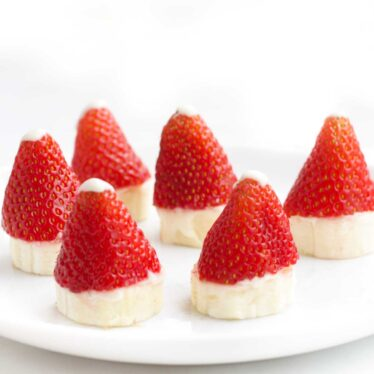 Strawberry Santa Hats on Plate