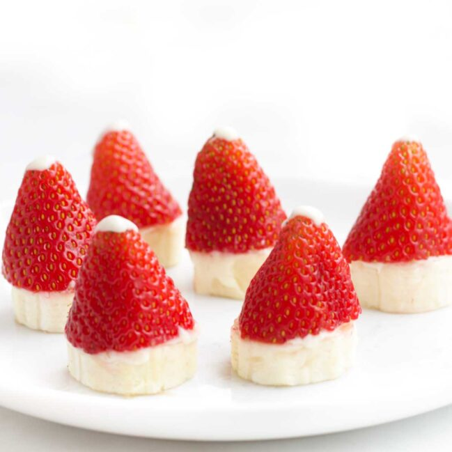 Strawberry Santa Hats on Plate