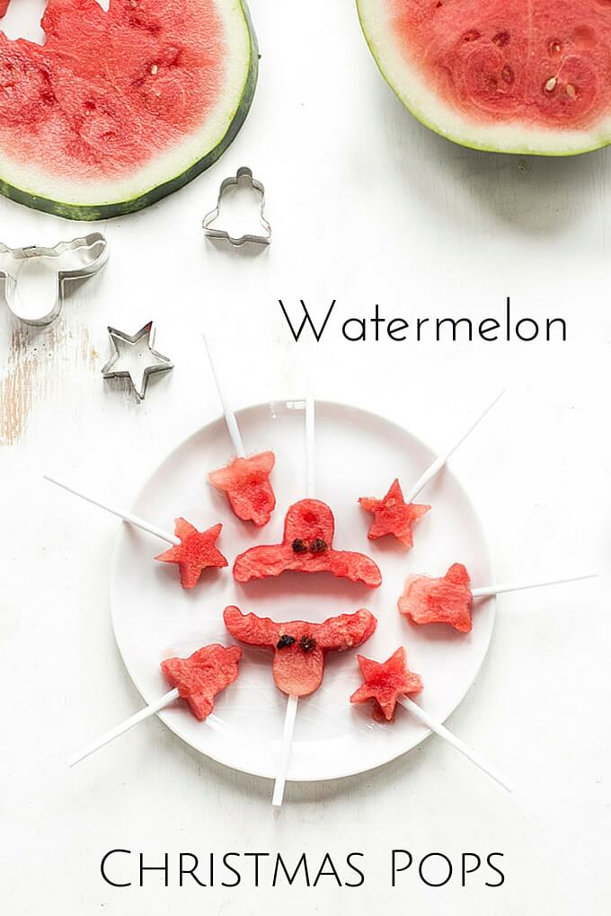 Watermelon Christmas Pops - a healthy Christmas snack for kids