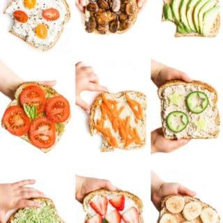 Collage of Nine Toast Toppings on Toast