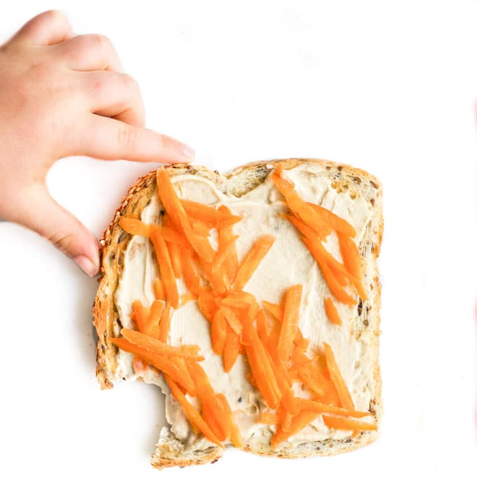 Hummus and Grated Carrot on Toast