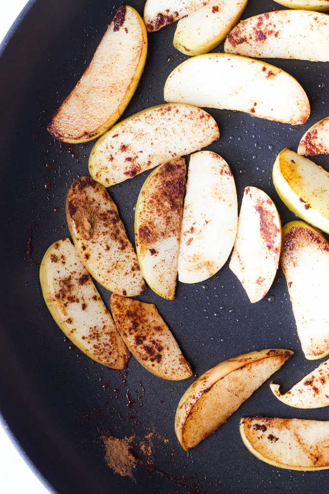 Sauteed Apple Wedges in Frying Pan