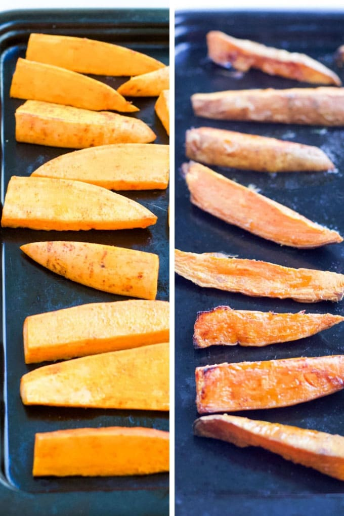 sweet potato wedges before and after cook