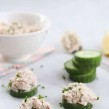 Cucumber Rounds Topped with Tuna Spread