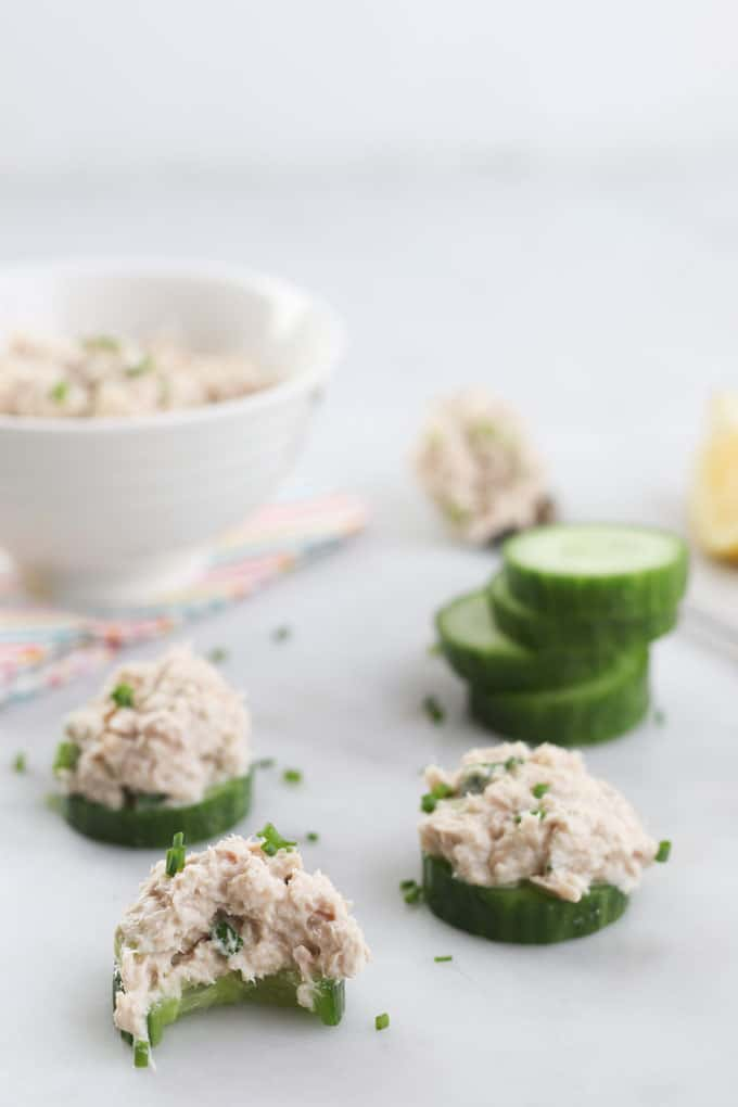Cucumber Rounds Topped with Healthy Tuna Salad