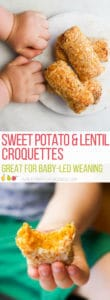 Sweet Potato and Lentil Croquettes. Easy to pick up with a soft texture they are perfect for babies and toddlers but are sure to be a hit with older kids too. #babyledweaning #blw #fingerfoods #kidsfood #kidfood #healthykidfood