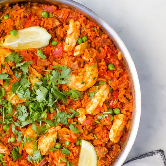 "carrot rice paella is a great way to increase veggie intake. The ""rice"" in the dish is made from carrots."