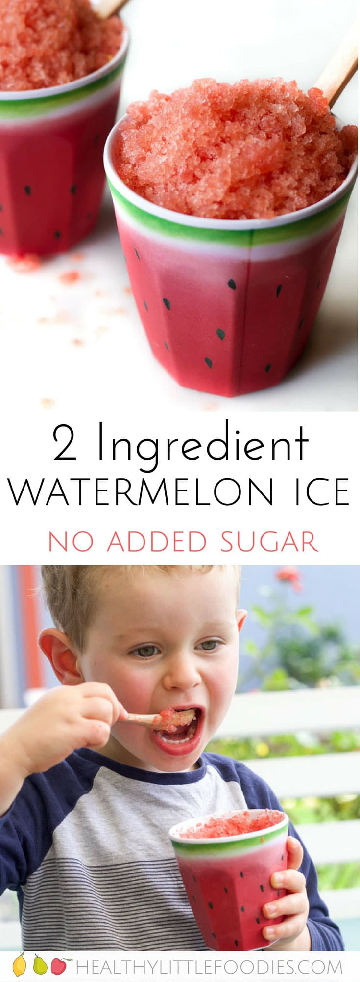 watermelon ice for kids. A healthy 2 ingredient frozen snack. NO added sugar