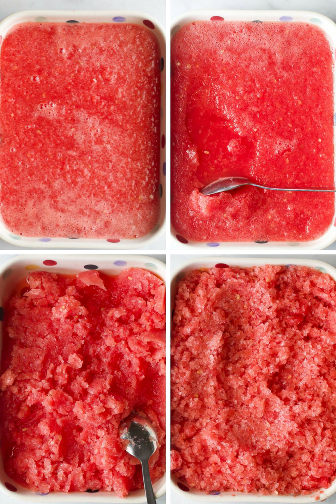 Watermelon Ice Freezing and Scraping Steps