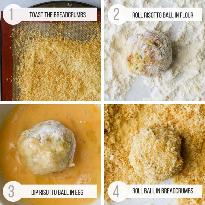 Baked Arancini Preparation. 4 pictures - Toasted Breadcrumbs, Ball coated in Flour, Ball Dipped in Egg & Ball Coated in Breadcrumbs