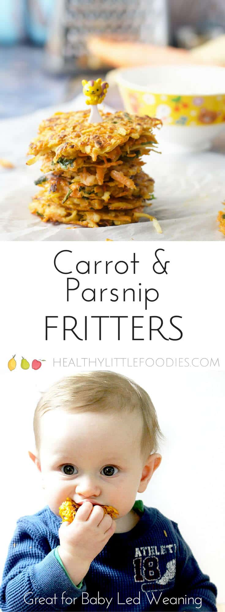Made mainly from veggies these carrot and parsnip fritters are perfect for kids or for baby-led weaning. #babyledweaning #blw #kidfood #kidsfood #veggies #fritters