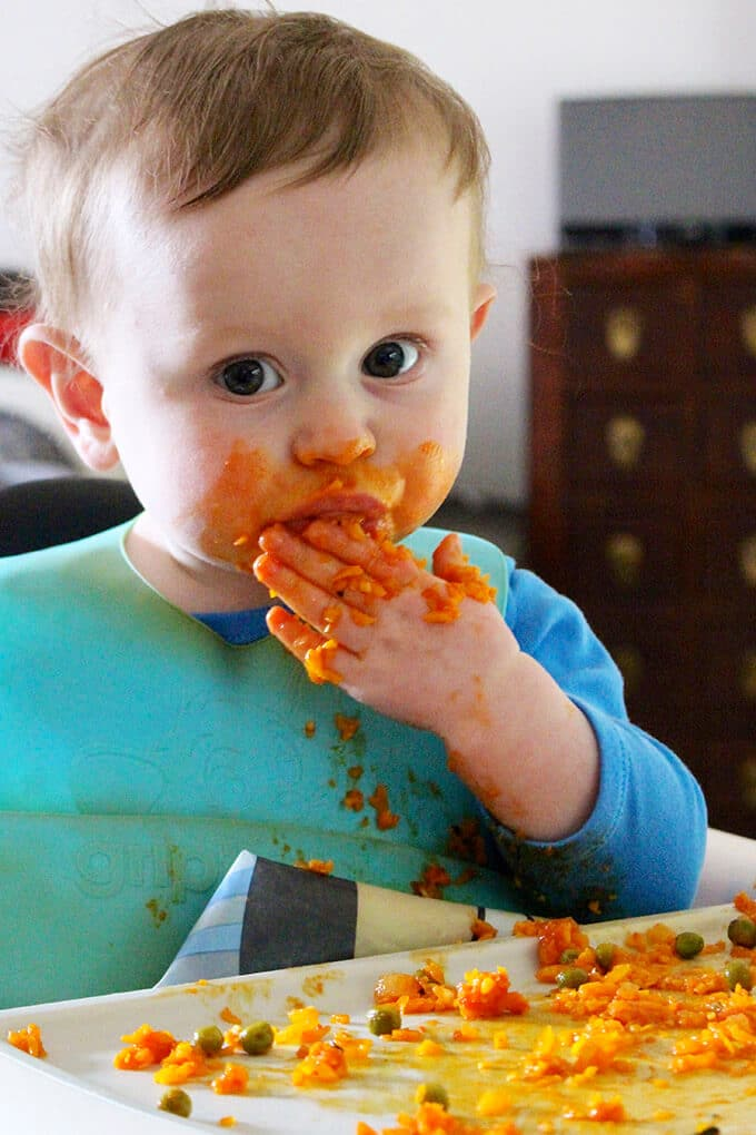 Baby in High Chair Doing Baby Led Weaning
