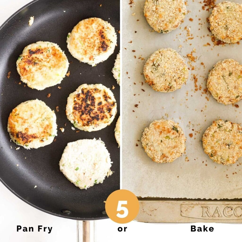 Collage of 2 Images. 1) Tuna Cakes Fried in Pan 2) Tuna Caked Cooked in Oven on Baking Sheet
