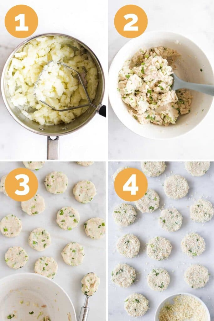 Collage of 4 Images Showing the Process Steps for Making Fish Cakes. 1)Potatoes Mashed 2)Ingredients Mixed in Bowl 3) Fish Cakes Formed into Rounds 4) Fish cakes Coated in Breadcrumbs