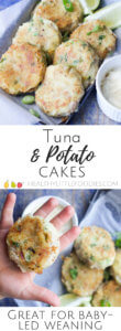 Tuna and Potato cakes. A great finger food for baby-led weaning. Great as part of a family meal. Food for kids.