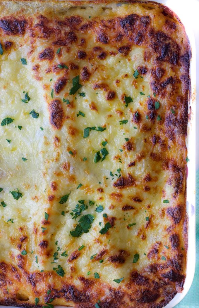 Red lentil lasagne. A delicious vegetarian lasagne, great for kids