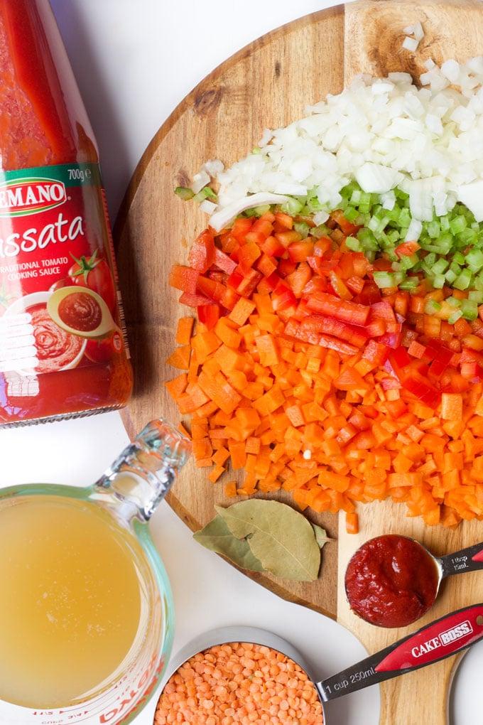 Ingredients for Red Lentil Lasagne