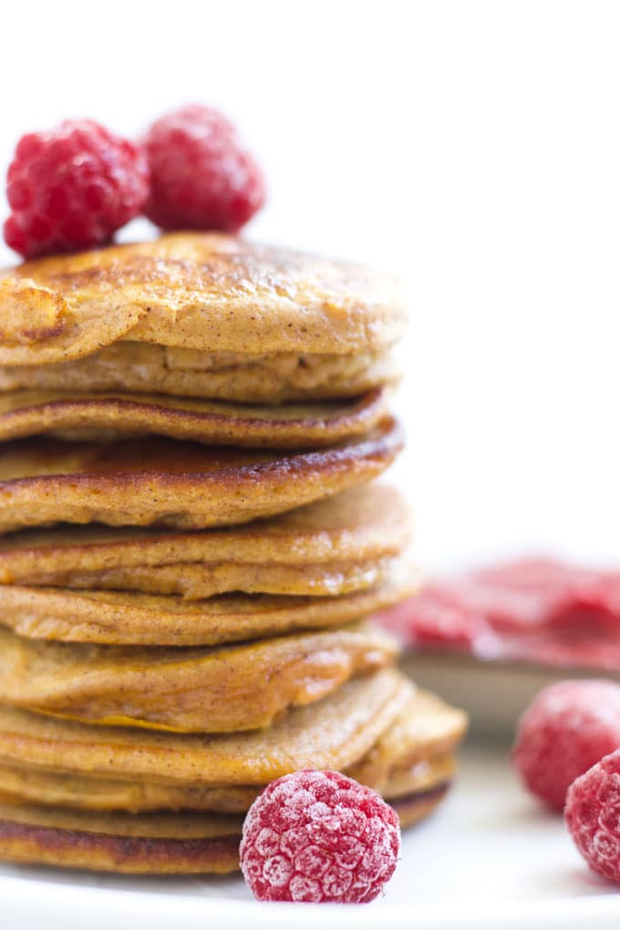 Stack of Sweet Potato Pancakes Served with Raspberry Sauce
