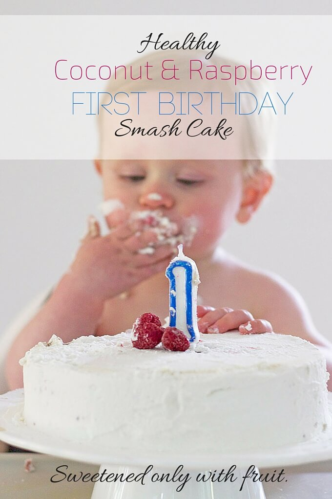 Healthy First Birthday Cake - A smash cake sweetened only with fruit.