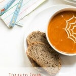 Tomato soup for kids. Low salt and no added sugar. Add the yogurt web for extra kid appeal. Perfect for spiderman fans!