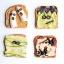 Four Fun Halloween Toasts 1) Banana Ghosts 2)Avocado Frankenstein 3)Hummus Mummy 4) Olive Spider Toast
