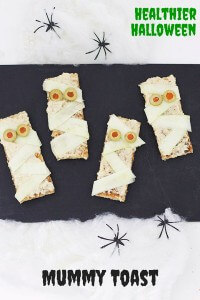 Mummy Toast (Healthier Halloween Snacks)