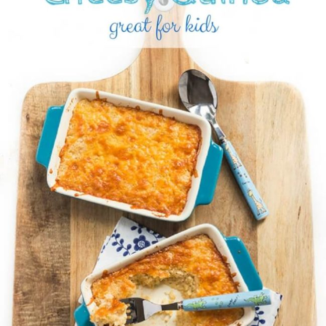 Cheesy quinoa for kids. Cooked quinoa is mixed with a delicious cheese sauce and then baked. This is a great way to introduce quinoa to kids. Gluten Free