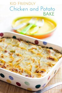 Chicken and Potato Bake - chicken cooked in a cream sauce topped with peas and thinly slice potatoes. A kid friendly dish that the whole family will love