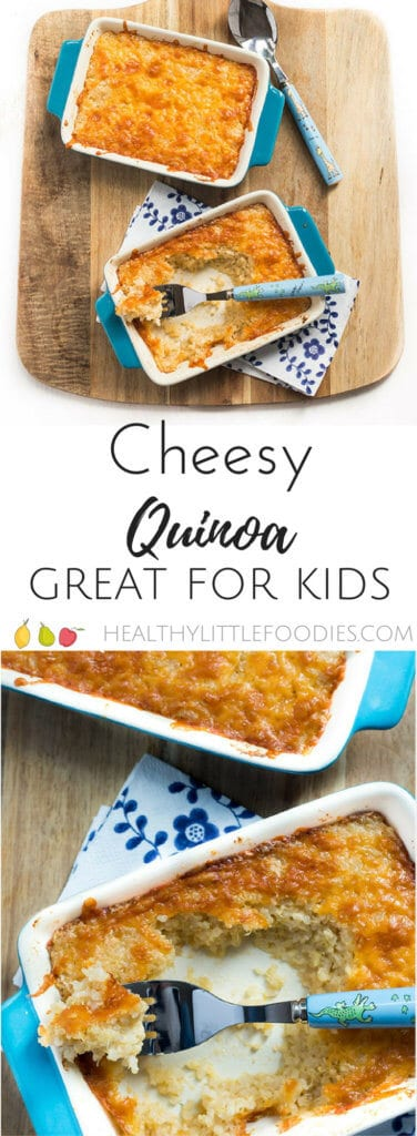cheesy quinoa for kids. Cooked quinoa mixed into a cheese sauce and then baked. Kid friendly meal