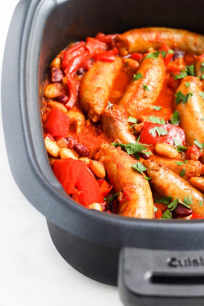 Cooked Sausage Hotpot in the Slow Cooker