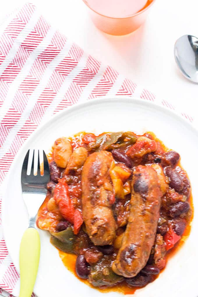 slow cooker sausage hotpot. A perfect family meal. Sausages, beans, peppers and tomato