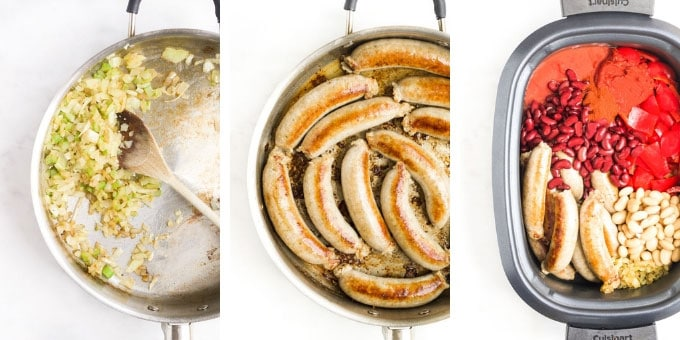 Slow Cooker Sausage Hotpot Process Steps