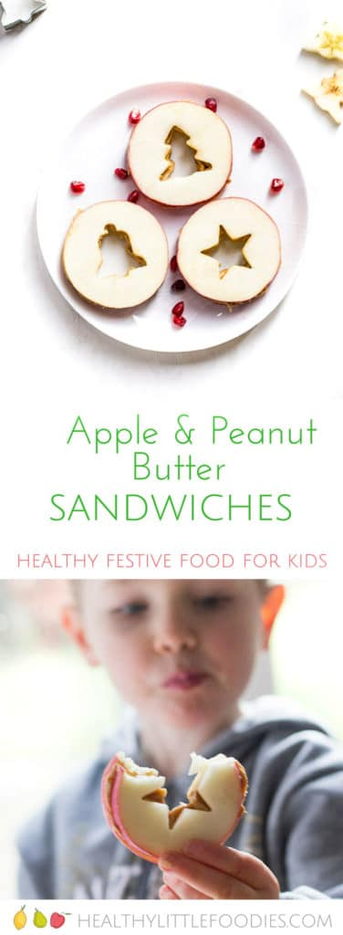 Christmas Apple and Peanut Butter Sandwiches. Fun Christmas Ideas for Kids.