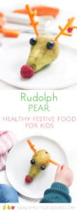 Rudolph Pear - A healthy Christmas snack for kids.