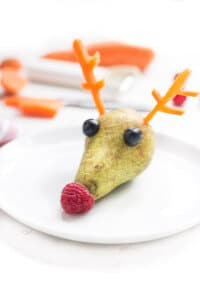 Rudolph Pear - A quick, fun and healthy Christmas snack for kids.