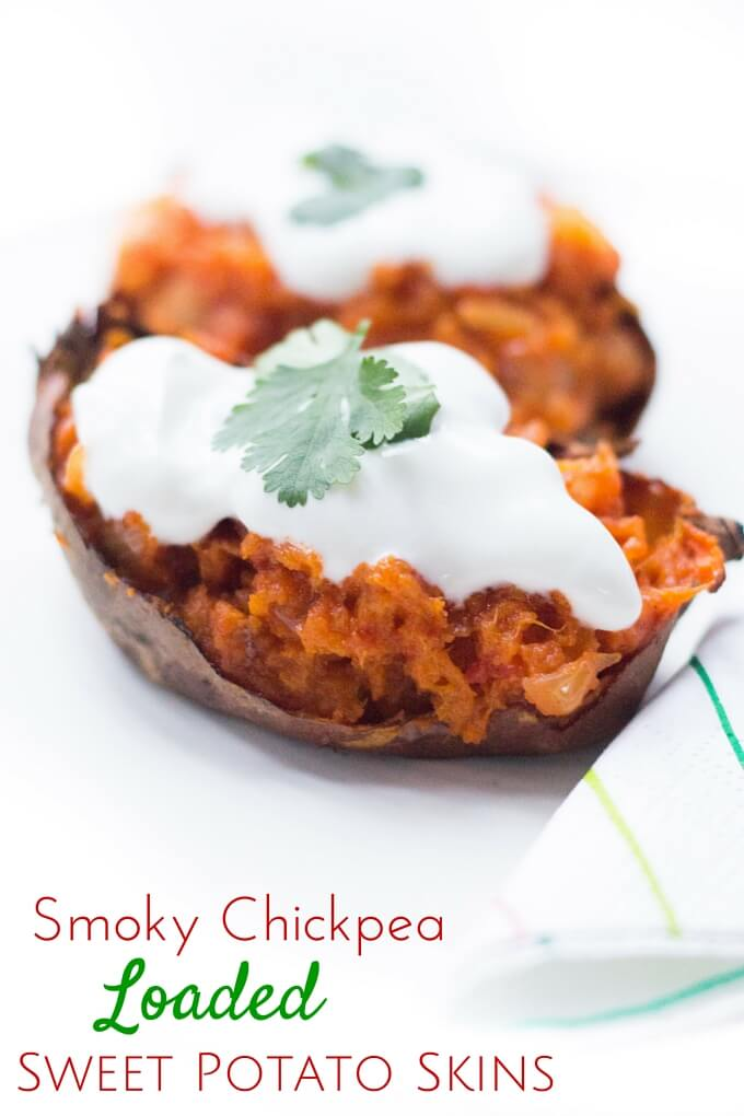 smoky chickpea loaded sweet potato skins. Smoky chickpeas mixed with with sweet potato flesh and placed back in the twice cooked skins. Vegetarian, vegan