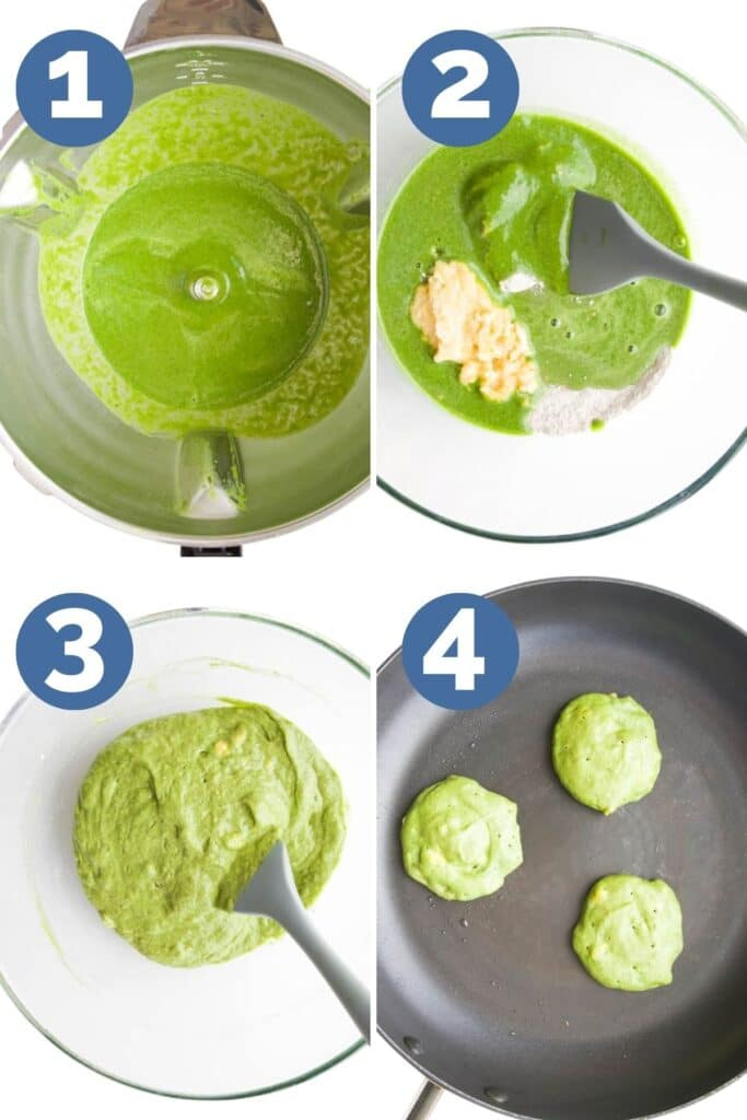 Collage of 4 Images Showing How to Make Green Pancakes. (1)Wet ingredients Blended in Blender, (2)Dry Ingredients, Wet Ingredients and Mashed Banana in Bowl, Mixture Combined in Bowl (4) Pan with Pancakes Cooked on one side)