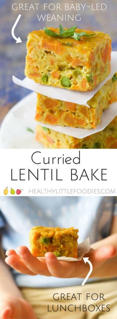 curried lentil bake, finger food for babies and kids
