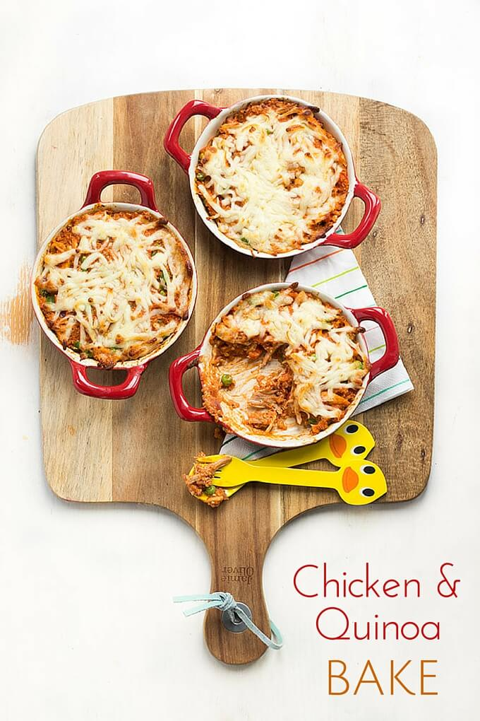 Chicken and Quinoa Bake. A great family dish and great way to introduce quinoa to kids.