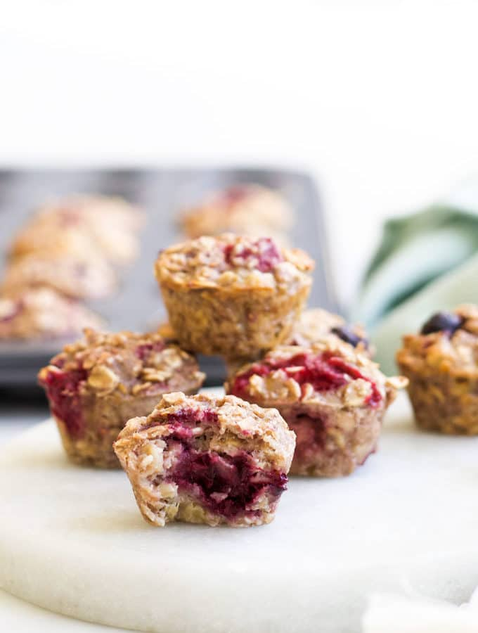 Baked Oatmeal Cups With Bite Out of One