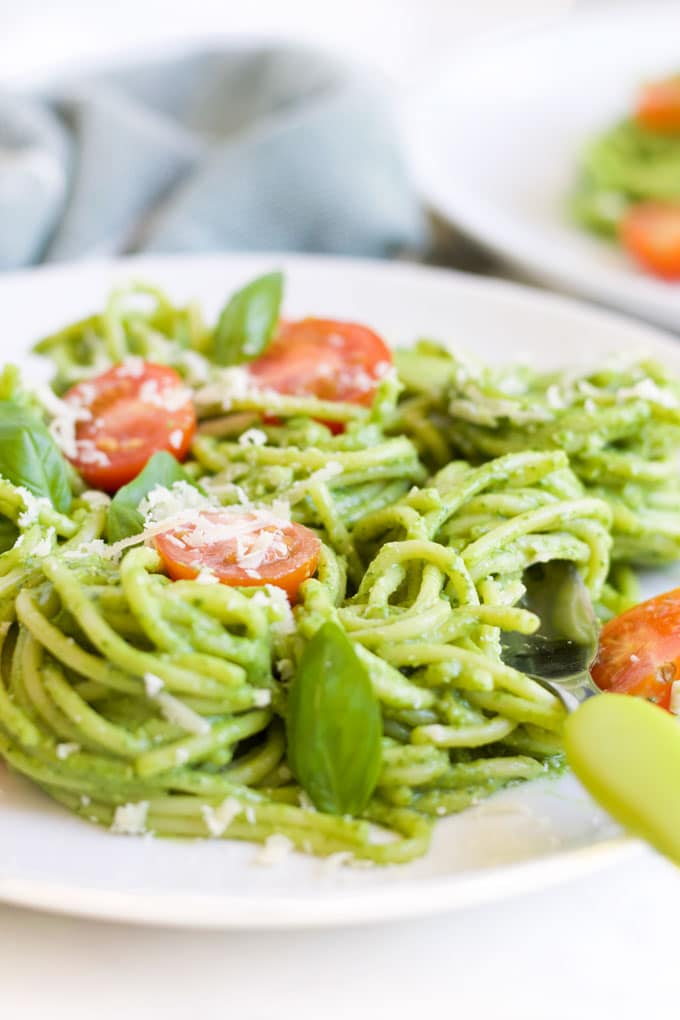 Side Shot of Avocado Spinach Pasta on Plate